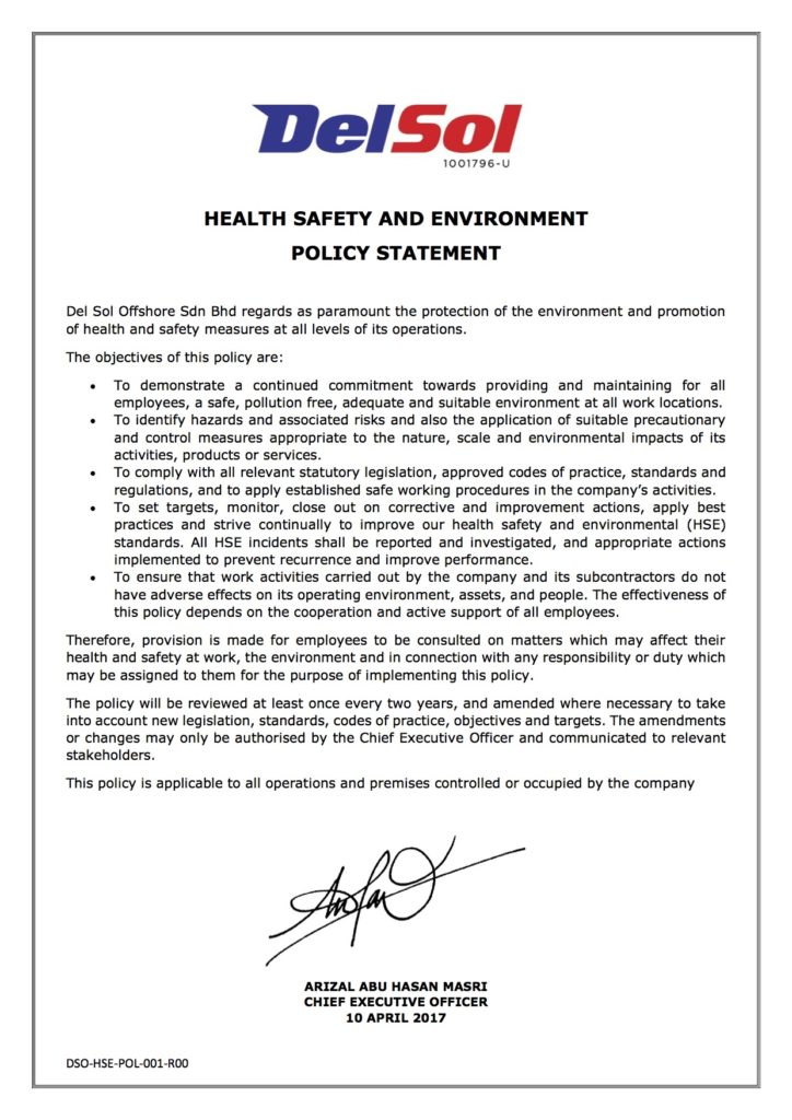 HSE Policy Statement - Del Sol Offshore